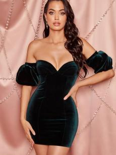 Off Shoulder Open Back Velvet Tube Bodycon Dress