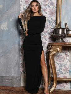 Open Back High Slit Hem Maxi Bodycon Dress