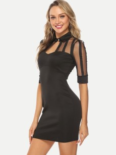 Black Mesh Insert Mini Bodycon Dress
