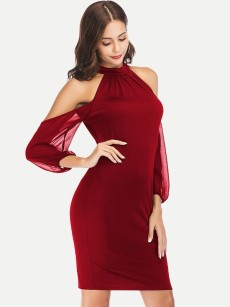 Off Shoulder Long Sleeve Chiffon Fitted Dress