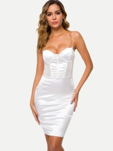 White Hollow Backless Bodycon Satin Cami Dress
