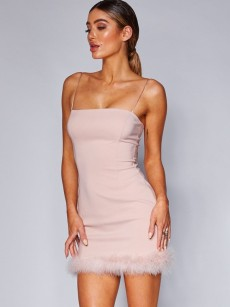 Pink Feather Trim Backless Bodycon Cami Dress