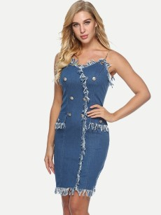Buttons Front Off Shoulder Denim Blue Cami Dress