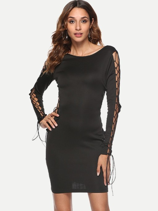 Black Lace-up Hollow Open Back Bodycon Dress