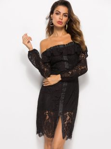 Off Shoulder Ruffle Hem Lace Overlay Bodycon Dress