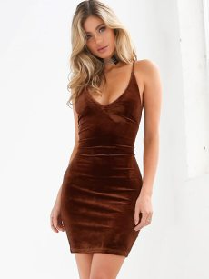 Crisscross Backless Sleeveless Bodycon Cami Dress