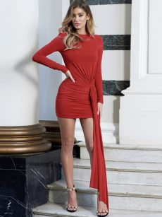 Open Back Ruched Tassel Long Sleeve Bodycon Dress