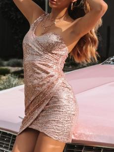 One Shoulder Ruched Hem Bodycon Sequin Wrap Dress
