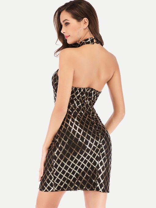 Mesh Insert Grid Sequin Backless Bodycon Dress