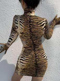 Mock Neck Tiger Print Bodycon Dress With Gloves