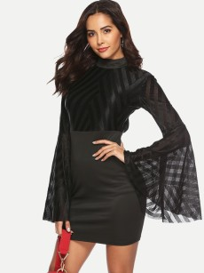 Bell Sleeve Open Back Bodycon Mesh Dress