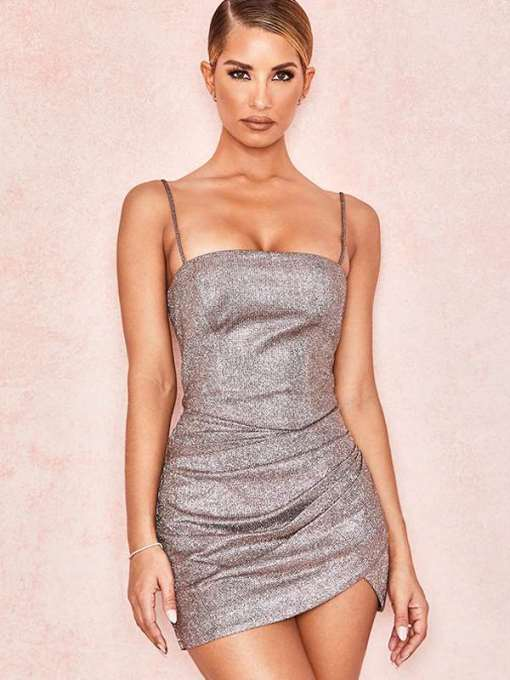 Pink Ruched Hem Open Back Glitter Bodycon Cami Dress