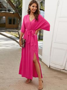 Solid V Neck Belted Slit Maxi Vacation Dress