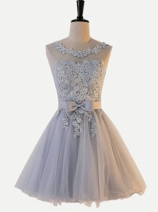 Embroidered Backless Lace Tulle Graduation Dress