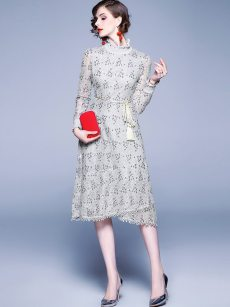 Embroidered Belted Long Sleeve Lace Bodycon Dress
