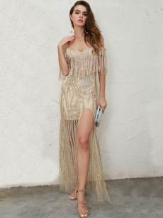 Gold Sequin Backless Tassel Slit Bodycon Slip Dress