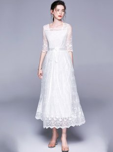 White Embroidered Belted Lace A-line Prom Dress