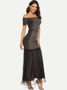 Off Shoulder Slit Hem Glitter Mermaid Bodycon Tulle Dress