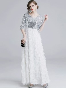 White Sequin Tassel Fluffy A-line Evening Dress