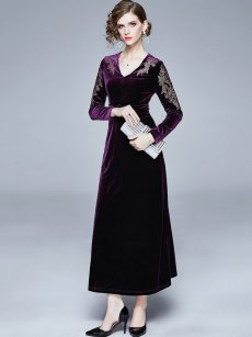 Purple Embroidered A-line Velvet Evening Dress