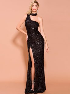 Halter Neck Sequin Backless Slit Velvet Bodycon Prom Gown