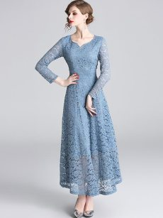V Neck Embroidered Hollow Maxi Lace Evening Dress
