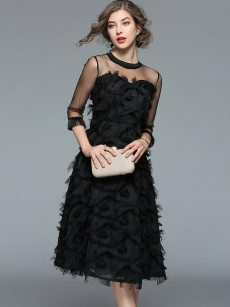 Mesh Insert Black Feather Tassel Ball Gown
