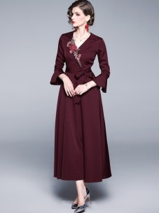 Bell Sleeve Embroidered Belted Elegant Maxi Evening Gown