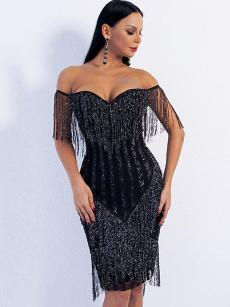 Off Shoulder Sequin Tassel Backless Bodycon Evening Gown