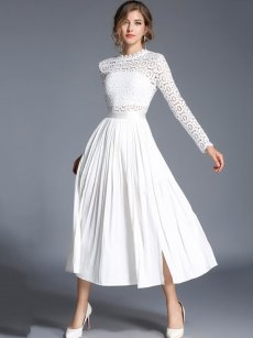 White Pleated Slit Hem Lace Prom Dress