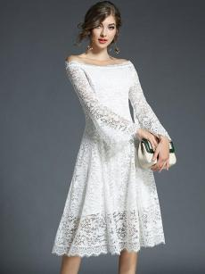 Off Shoulder Bell Sleeve Lace A-line Birthday Dress
