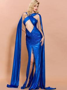 Crisscross Front Blue Ruched Slit Hem Bodycon Prom Dress