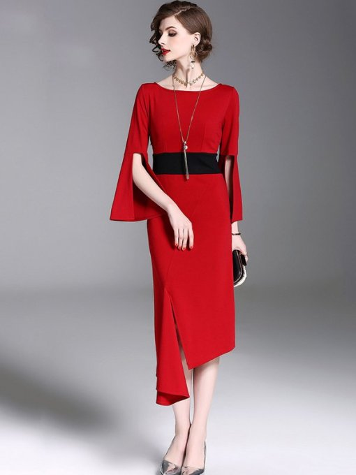 Bell Sleeve Red Asymmetric Slit Hem Bodycon Dress