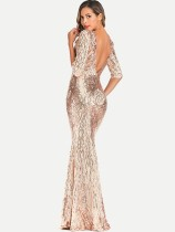 Gold Sequin Backless Bodycon Prom Gown