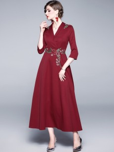 Burgundy Embroidered Maxi Flare Formal Dress