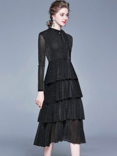 Elegant Black Long Sleeve Glitter Layered Dress