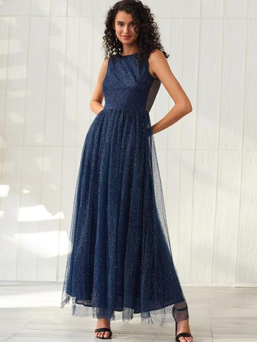 Navy Backless Glitter Sleeveless Prom Dress