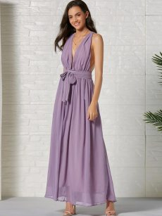 Plunge Neck Belted Pleated Tank Flare Chiffon Prom Dress