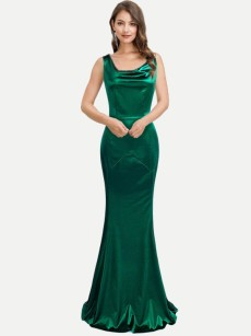 Cowel Neck Backless Sleeveless Bodycon Mermaid Dress