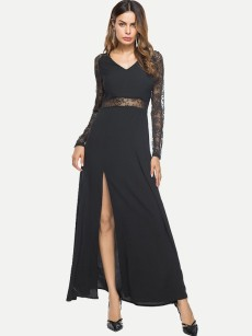 Black Lace Insert Slit Hem Maxi Evening Gown