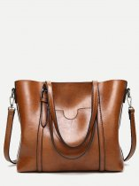 Solid Buckle Decor Tote Bag