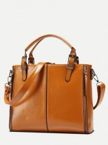 Double Zipper Front Tote Bag
