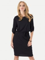 Womens Business Dress Work Office Pencil Solid Color Knee Length Midi Dress With Sleeves
