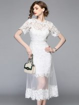 White Lace Mesh Long Evening Dress