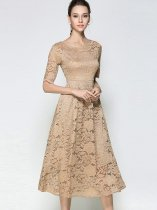 Khaki Lace Formal Evening Dress