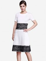 Womens Business Dress White Work Office Pencil Lace Color Block Knee Length Midi Dress With Sleeves