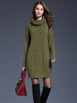 8ff21a17bca High Neck Solid Color Plus Size Long Sweater Dress - Vinfemass