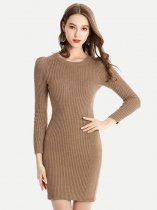 Womens Knit Sweater Jumper Dress Solid Color Slim Pullover