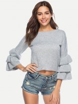 Solid Ruffle Sleeve Knit Crop Sweater