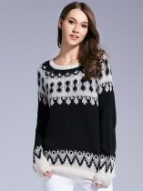Womens Knit Sweater Jumper Geometrical Pattern Pullover